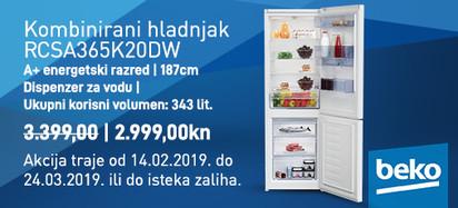 Beko kombirani hladnjak RCSA365K20DW