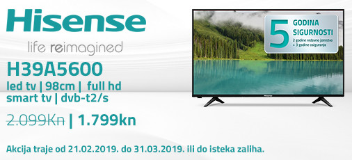 hisense h39a5600 akcija 2019