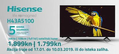 hisense h43a5100 akcija 2019