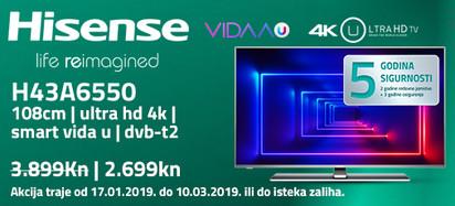 Hisense h43a6550 akcija 2019