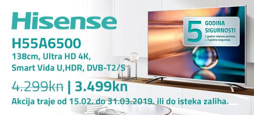 hisense h55a6500 akcija 2019