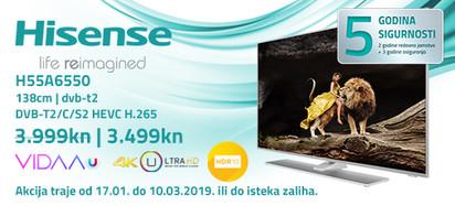 hisense h55a6550 akcija 2019